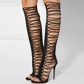 Ericdress Cut Out Back Zip Ultra-High Thigh High Boots