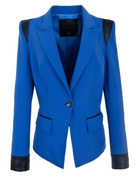 Ericdress Slim One-Button Color Block Polo Blazer