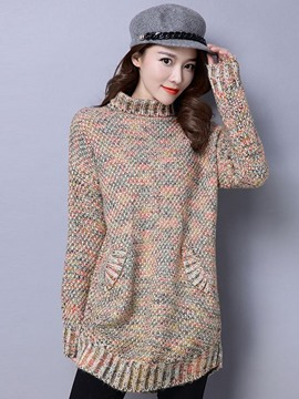 Ericdress Crew Neck Pocket Loose Knitwear