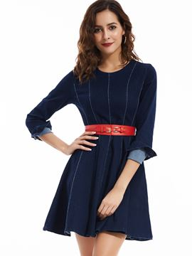 Ericdress Round Neck Denim A-Line Strip Casual Dress