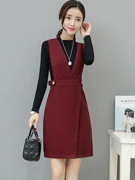 Ericdress Long Sleeve Sweater Asymmetric Suspenders Dress Suit