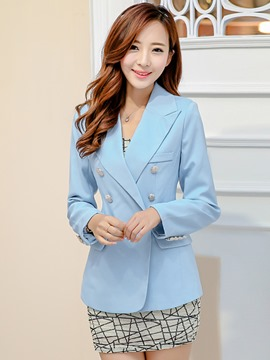 Ericdress Double-Breasted Slim Solid Color Blazer