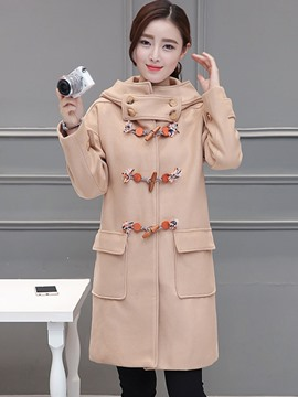 Ericdress Straight Solid Color Horn-Button Coat