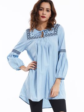 Ericdress Bohemian Round Neck Lantern Sleeves Blouse