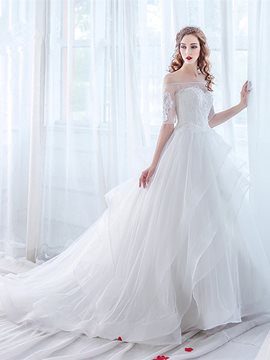 Ericdress Elegant Off The Shoulder Appliques Half Sleeves Ball Gown Wedding Dress