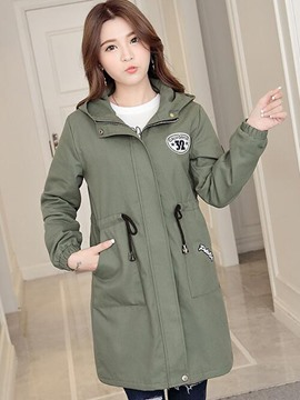 Ericdress Loose Lace-Up Zipper Casual Coat
