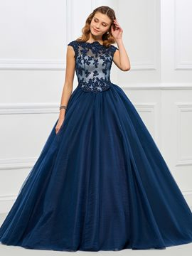 Ericdress Delicate Cap Sleeve Applique Beaded Tulle Ball Quinceanera Gown