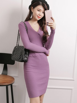 Ericdress Knitting V-Neck Solid Color Sweater Dress