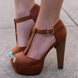 Ericdress Brown Peep Toe Platform Chunky Sandals