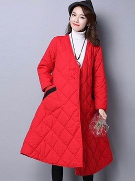 Ericdress Solid Color V-Neck Wave Cut Coat