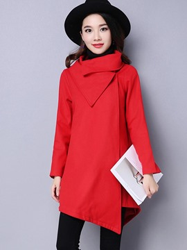 Ericdress Casual Solid Color Turtleneck Trench Coat