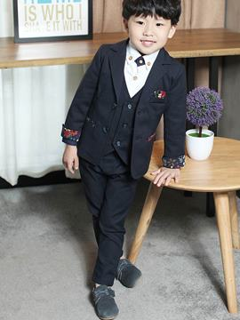 Ericdress Solid Color Vest 3-Pcs Boys Suit