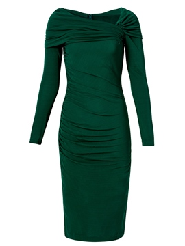 Ericdress Pleated Patchwork Slash Neck Sheath Dress