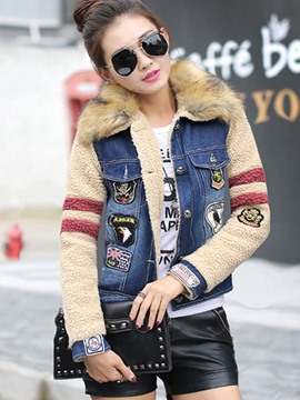 Ericdress Loose Fleece Denim Patchwork Coat
