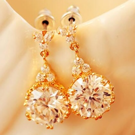 Ericdress Shining Round Crystal Pendant Earrings