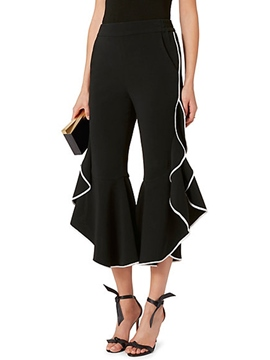 Ericdress Ruffles Slim Ankle Length Bellbottoms Pants