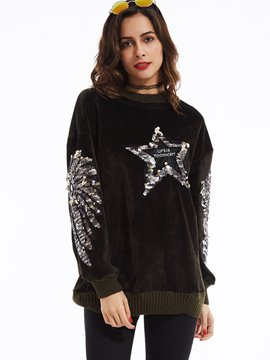 Ericdress Round Neck Color Block Sequins Decorated Hoodie