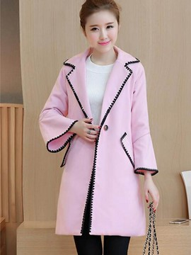 Ericdress Straight Trumpet Color Block Polo Coat