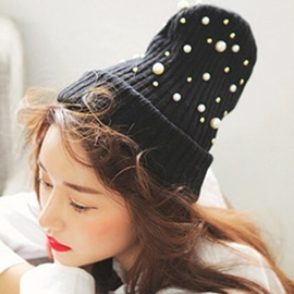 Ericdress Pearls Embellished Black Knitted Hat