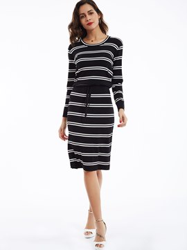 Ericdress Drop-Shoulder Sleeves Striped Sweater Dress