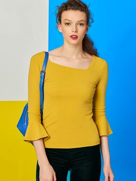 Ericdress Yellow Three-Quarter Flare Sleeve T-Shirt