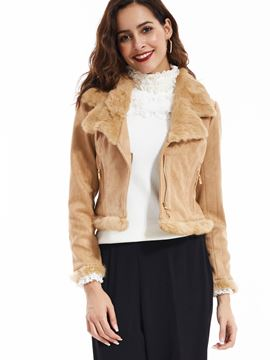 Ericdress Plain Lapel Gold Zippers Short Coat