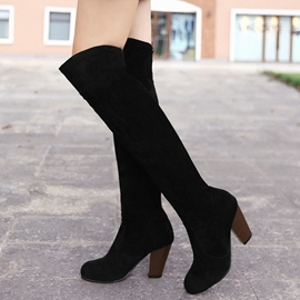 Ericdress Nubuck Slip-On Block Heel Thigh High Boots