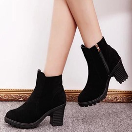 Ericdress Simple Suede Side Zipper Ankle Boots