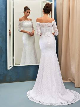 Ericdress Elegant Off The Shoulder Lace Mermaid Wedding Dress With Sleeves
