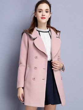 Ericdress Color Block Double-Breasted Straight Coat