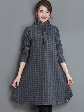 Ericdress Stand Collar Button Houndstooth A-Line Casual Dress