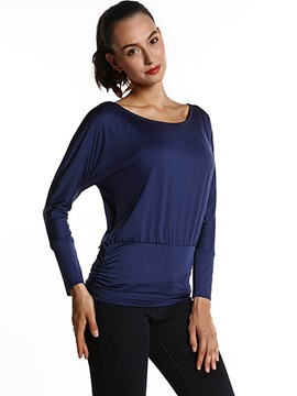 Ericdress Round Neck Solid Color T-Shirt