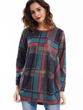 Ericdress Loose Color Block Round Neck Plaid T-Shirt