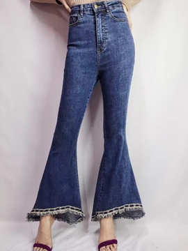 Ericdress Tassel Rivet High-Waist Bellbottoms Jeans