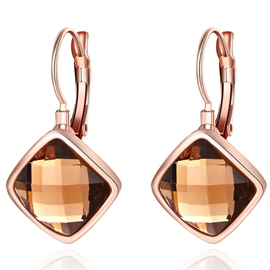 Ericdress Rose Gold Plated Rhombus Pendant Earrings