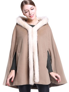 Ericdress Loose Color Block Faux Fur Collar Cape