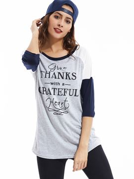 Ericdress Letter Print Color Block T-Shirt