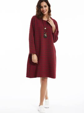 Ericdress Loose Round Neck Plaid Casual Dress