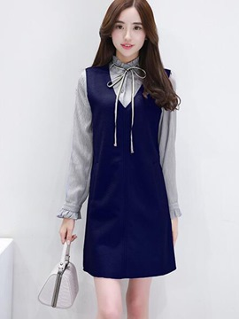 Ericdress Ruffled Collar Lace-Up Falbala Long Sleeve Dress Suit