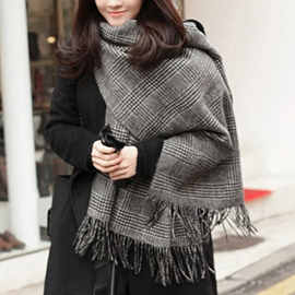Ericdress Double Sided Grid Warm Scarf