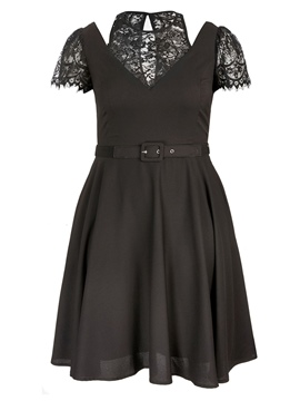 V-Neck Lace Plus Size Dress