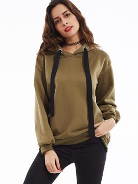 Ericdress Plain Lace-Up Hoodie