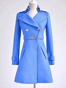 Ericdress Solid Color Buttons Slim Coat