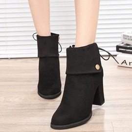 Ericdress Elegant Back Lace up Chunky Heel Ankle Boots