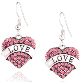 Ericdress Heart-Shaped with Rhinestone Pendant Earrings