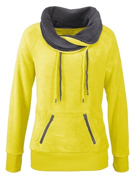 Ericdress Color Block Lace-Up Casual Straight Hoodie