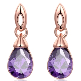 Ericdress Purple Gem Inlaid Water Droplets Earrings