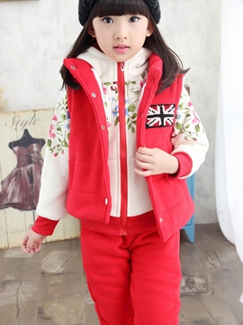 Ericdress Floral Hoodie Vest Pants 3-Pcs Girls Outfit