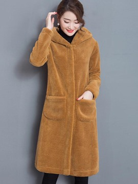 Ericdress Solid Color Straight Pocket Hooded Coat