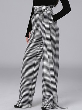 Ericdress Houndstooth Print Lace-Up Thick Wide Legs Pants